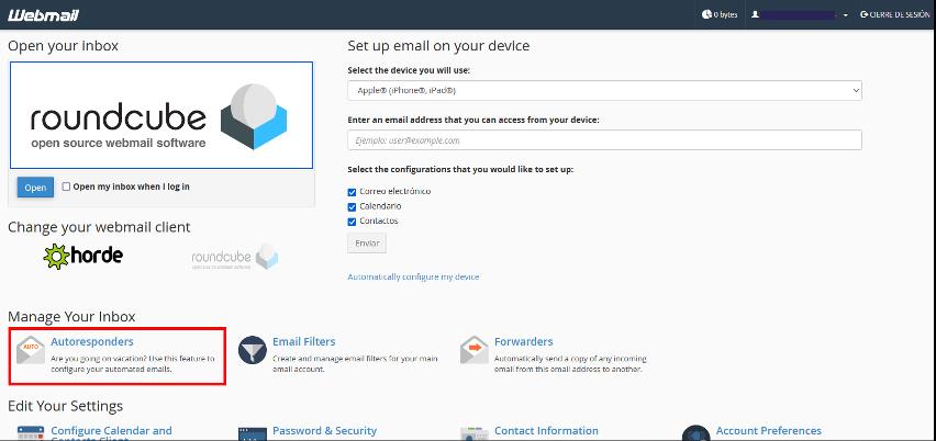 respuesta automática webmail